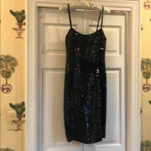Spaghetti strap black sequin club dress